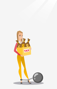 Chained to a ball taxpayer standing near bags with taxes. Upset business woman taxpayer holding bag with dollar sign. Concept of tax time and taxpayer. Vector flat design illustration. Vertical layout