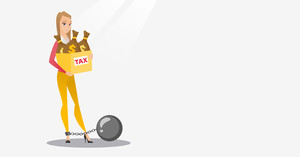 Chained to a ball taxpayer standing near bags with taxes. Upset business woman taxpayer holding bag with dollar sign. Tax time and taxpayer concept. Vector flat design illustration. Horizontal layout.