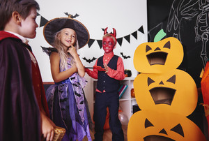 Children in halloween costumes at traditional festival