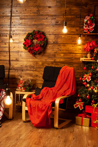 Christmas atmosphere in such a beautiful house design. Santa is coming.