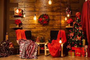 Christmas home design with beautiful christmas tree. Cozy night.