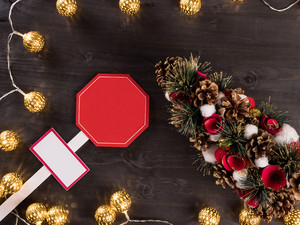 Christmas light on wooden background with home decorations. Lights. Christmas tree