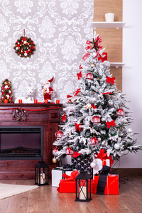 Christmas room with a Christmas tree and fireplace. Santa is coming.