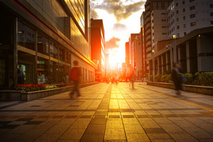 city life and colorful of sunset sky in sapporo hokkaido japan