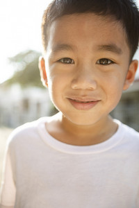 close up face of asian children tooth smiling face