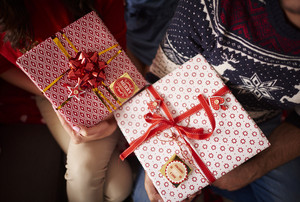 Close up of Christmas presents
