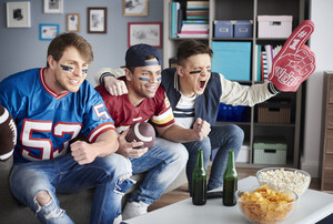 Close up of football avid fans