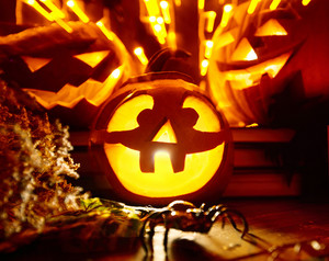 Close-up of jack o lantern brightly lit