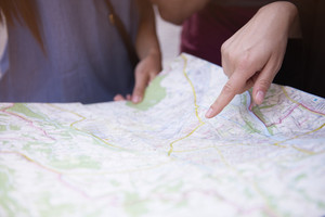 Close up of paper map