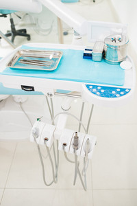 Close-up of the dentist's equipment in the dental office