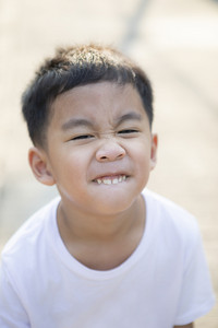 close up tooth and kidding face of asian children  standing outdoor