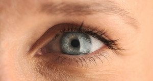 closeup of woman's eye. blue eye