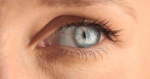 closeup of woman's eye. blue eye