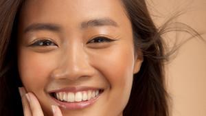 closeup portrait asian model laughing