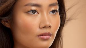 closeup portrait of asian corean japanese thai model. Asian eyes