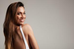 closeup portrait of smiling spanish woman