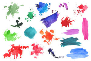 Collection of watercolor splatters isolated on white.