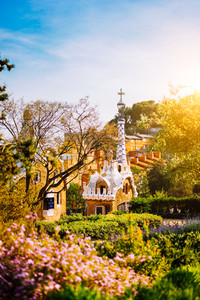 Colorful mosaic building in Park Guell in warm sunset light. Framed by garden flowers in foreground. Barcelona, Spain