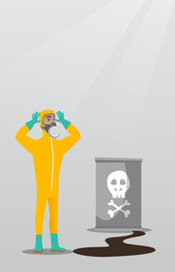 Concerned man in respirator and radiation protective suit clutching head. Young man in radiation suit looking at leaking barrel with radiation sign. Vector flat design illustration. Vertical layout.