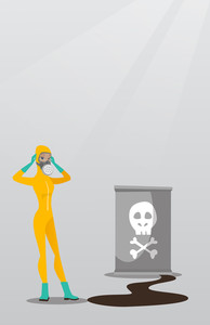 Concerned woman in respirator and radiation protective suit clutching her head. Woman in radiation suit looking at leaking barrel with radiation sign. Vector flat design illustration. Vertical layout.