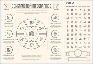 Construction infographic template and elements. The template includes the following set of icons - pipe, window, door, wheelborrow with soil, road barrier, bridge, paintbrush, bricks and more. Modern minimalistic flat thin line vector design.