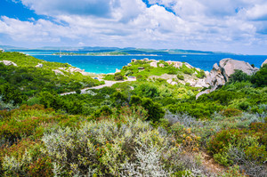 Costa Serena coastscape with some clouds, Sardinia, Italy