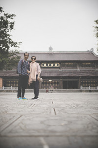 couples of asian tourist in chua bai dinh temple important traveling destination vietnam