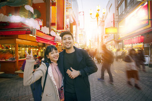 couples of asian woman happiness and relaxing in dotonbori district one of most popular traveling destination in osaka japan