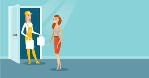 Courier delivering online shopping order. Woman receiving packages with groceries from delivery courier. Woman delivering groceries to customer. Vector flat design illustration. Horizontal layout.
