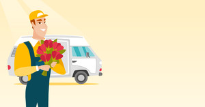 Courier with flowers standing on the background of delivery truck. Delivery courier holding bouquet of flowers. Delivery courier delivering flowers. Vector flat design illustration. Horizontal layout.