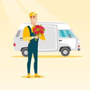 Courier with flowers standing on the background of delivery truck. Delivery courier holding bouquet of flowers. Delivery courier delivering flowers. Vector flat design illustration. Square layout.