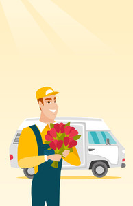 Courier with flowers standing on the background of delivery truck. Delivery courier holding bouquet of flowers. Delivery courier delivering flowers. Vector flat design illustration. Vertical layout.