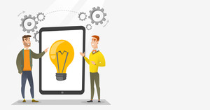 Creative business team brainstorming. Two businessmen during brainstorming session pointing finger at light bulb on tablet. Brainstorming concept. Vector flat design illustration. Horizontal layout.