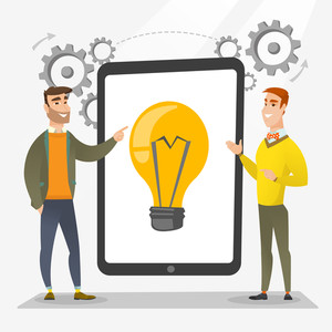 Creative business team brainstorming. Two businessmen during brainstorming session pointing finger at light bulb on tablet screen. Brainstorming concept. Vector flat design illustration. Square layout