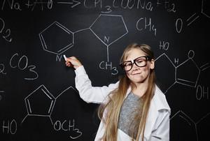 Cute small professor of chemistry