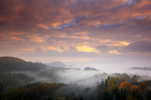 Czech typical autumn landscape. Hills and forest with foggy morning. Morning fall valley of Bohemian Switzerland park. Hills with fog, landscape of Czech Republic, Ceske Svycarsko, wild Europe.