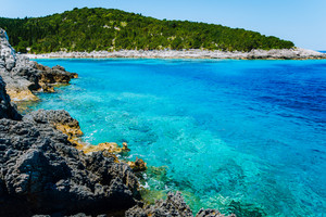 Dafnoudi beach in Kefalonia, Greece. Clear ripple water Stunning amazing charming places, famous beaches. Vacation recreation concept