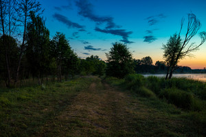 Dawn on the shore of the lake. A dirt road along the lake