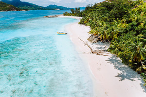 Daytrip to Therese Island. Mahe. A aerial drone view from blue lagoon and lonely tourist boat get ashore to sandy beach with tropical palm trees. travel concept