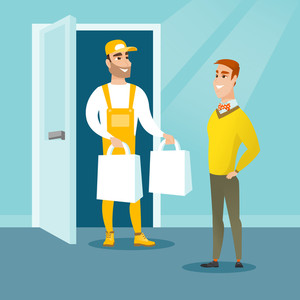 Delivery courier delivering online shopping order. Man receiving packages with groceries from delivery courier. Man delivering groceries to customer. Vector flat design illustration. Square layout