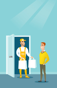 Delivery courier delivering online shopping order. Man receiving packages with groceries from delivery courier. Man delivering groceries to customer. Vector flat design illustration. Vertical layout.