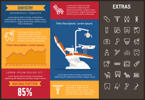 Dentistry infographic template, elements and icons. Infograph includes customizable graphs, charts, line icon set with dentist tools, dental care, tooth decay, teeth health, medicine chest etc.