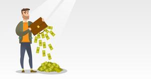 Depressed caucasian bankrupt businessman shaking out money from briefcase. Despaired bankrupt businessman emptying a briefcase. Bankruptcy concept. Vector flat design illustration. Horizontal layout.