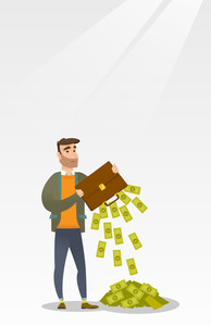 Depressed caucasian bankrupt businessman shaking out money from his briefcase. Despaired bankrupt businessman emptying a briefcase. Bankruptcy concept. Vector flat design illustration. Vertical layout