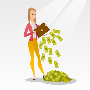 Depressed caucasian female bankrupt shaking out money from a briefcase. Despaired bankrupt business woman emptying a briefcase. Concept of bnkruptcy. Vector flat design illustration. Square layout.