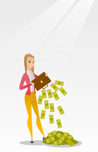 Depressed caucasian female bankrupt shaking out money from a briefcase. Despaired bankrupt business woman emptying a briefcase. Concept of bnkruptcy. Vector flat design illustration. Vertical layout.