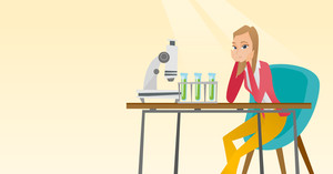 Disappointed caucasian student carrying out experiment in chemistry class. Female student clutching head after failed experiment in chemistry class. Vector flat design illustration. Horizontal layout.