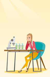 Disappointed caucasian student carrying out experiment in chemistry class. Female student clutching head after failed experiment in chemistry class. Vector flat design illustration. Vertical layout.