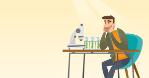 Disappointed caucasian student carrying out experiment in chemistry class. Hipster student clutching head after failed experiment in chemistry class. Vector flat design illustration. Horizontal layout