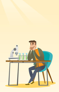 Disappointed caucasian student carrying out experiment in chemistry class. Hipster student clutching head after failed experiment in chemistry class. Vector flat design illustration. Vertical layout.